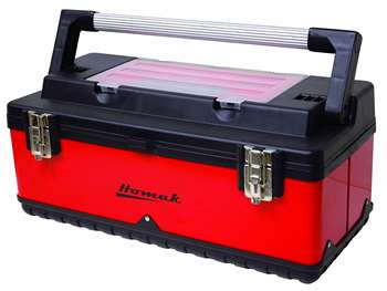 Homak 26-Inch Metal and Plastic Hand-Carry Toolbox with Aluminum Handle, Red