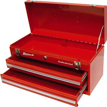 Homak Industrial 20-Inch 2-Drawer Friction Toolbox, Red Powder Coat