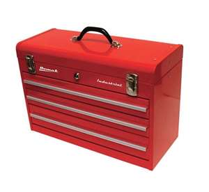 Homak Industrial 20-Inch 3-Drawer Friction Toolbox, Red Powder Coat