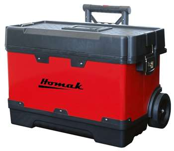 Homak 23-1/4-Inch Metal and Plastic Roll Away Toolbox with Retractable Aluminum Handle, Red