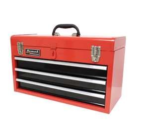Homak 20-Inch 3-Drawer Ball-Bearing Toolbox/Chest, Red