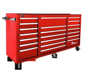 Homak H2PRO Series 72-Inch 21-Drawer Rolling Cabinet, Red