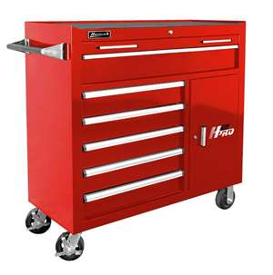 Homak H2PRO Series 41-Inch 6-Drawer with 2-Drawer Compartment Roller, Red