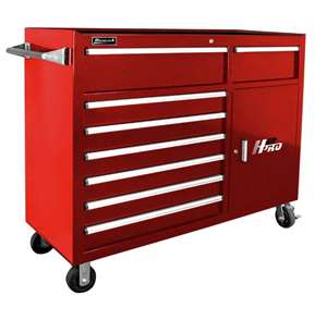 Homak H2PRO Series 56-Inch 8-Drawer with 2-Drawer Compartment Roller, Red