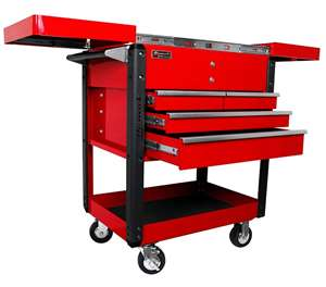 Homak 35-Inch Professional Series 4-Drawer Slide-Top Service Cart, Red