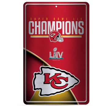 Kansas City Chiefs Super Bowl LIV 54 Champions Large Metal Sign 11X17