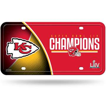 Kansas City Chiefs Super Bowl LIV 54 Champions Metal License Plate