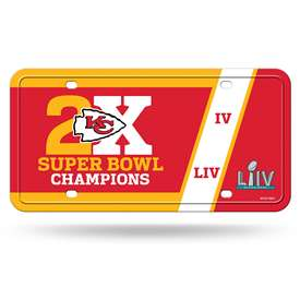 Kansas City Chiefs Super Bowl LIV 54 Champions 2X Champs Metal License Plate