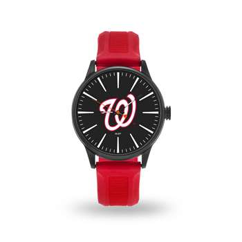 Washington Nationals Sparo Leather Fashion Watch & Faux Leather Tri-Fold Wallet