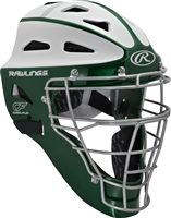 Rawlings VELO Softball Protective Hockey Style Catcher's Helmet Adult Dk Green/White