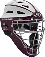 Rawlings VELO Softball Protective Hockey Style Catcher's Helmet Adult Maroon/White