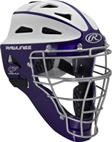 Rawlings VELO Softball Protective Hockey Style Catcher's Helmet Adult Purple/White