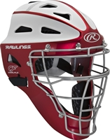 Rawlings VELO Softball Protective Hockey Style Catcher's Helmet Adult Scarlet/White