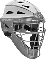 Rawlings VELO Softball Protective Hockey Style Catcher's Helmet Youth Silver/White