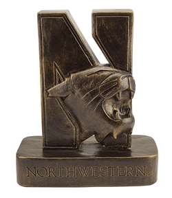 Northwestern University Wildcats N-Cat Bronze Finish Stone Mascot