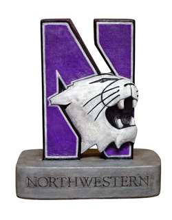 Northwestern University Wildcats N-Cat Painted Stone Mascot