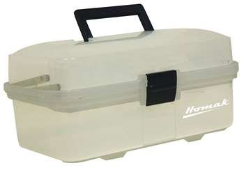 Homak 13-Inch Plastic Transparent Toolbox with 2 Tray Tier