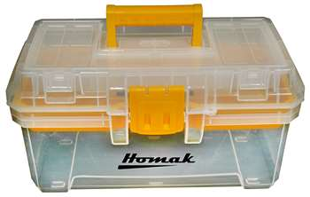 Homak 15.5-Inch Plastic Transparent Toolbox with Tray