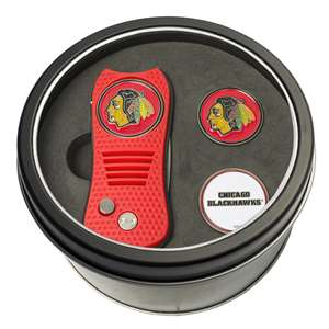 Chicago Blackhawks Golf Tin Set - Switchblade, 2 Markers 13559