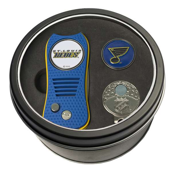 St. Louis Blues Golf Tin Set - Switchblade, Cap Clip, Marker