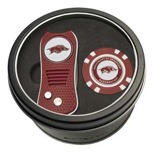University of Arkansas Razorbacks Golf Tin Set - Switchblade, Golf Chip