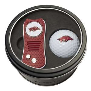 University of Arkansas Razorbacks Golf Tin Set - Switchblade, Golf Ball