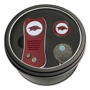 University of Arkansas Razorbacks Golf Tin Set - Switchblade, Cap Clip, Marker