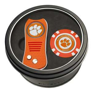 Clemson University Tigers Golf Tin Set - Switchblade, Golf Chip