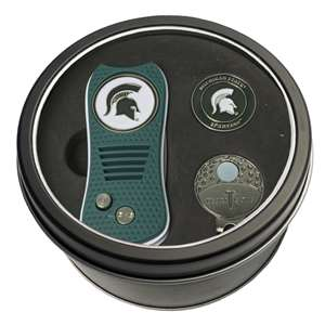 Michigan State University Spartans Golf Tin Set - Switchblade, Cap Clip, Marker