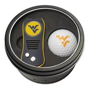 University of West Virginia Mountaineers Golf Tin Set - Switchblade, Golf Ball