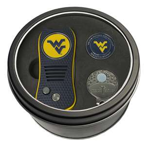 University of West Virginia Mountaineers Golf Tin Set - Switchblade, Cap Clip, Marker