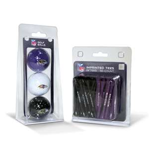 Baltimore Ravens  3 Golf Balls And 50 Golf Tees