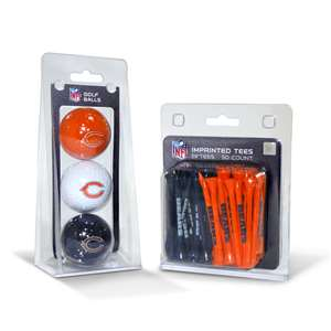 Chicago Bears  3 Golf Balls And 50 Golf Tees