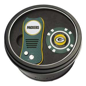 Green Bay Packers Golf Tin Set - Switchblade, Golf Chip