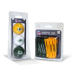 Green Bay Packers  3 Golf Balls And 50 Golf Tees
