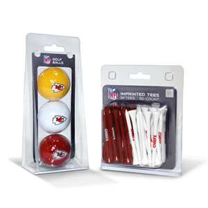 Kansas City Chiefs  3 Golf Balls And 50 Golf Tees