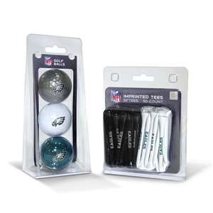 Philadelphia Eagles  3 Golf Balls And 50 Golf Tees