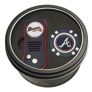 Atlanta Braves Golf Tin Set - Switchblade, Golf Chip