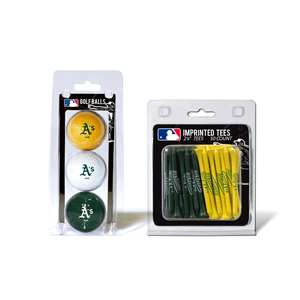 Oakland Athletics  3 Golf Balls And 50 Golf Tees