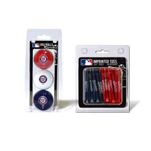 Washington Nationals  3 Golf Balls And 50 Golf Tees