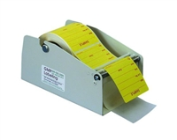 "Label Dispenser, metal construction, 4"" overall width holds a single label roll, use either on a table or mounted to a wall"
