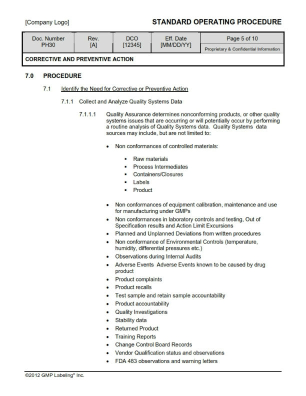Corrective preventive actions sop templates group ph300 for Preventive action plan template