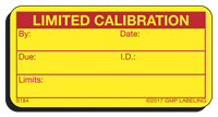 LIMITED CALIBRATION Status Label