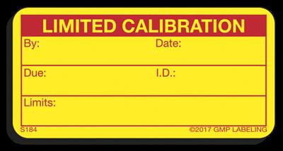 limited calibration status label s184 gmp qsr iso label. Black Bedroom Furniture Sets. Home Design Ideas