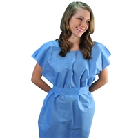 Disposable Exam Gowns, Tissue/Poly/Tissue, Blue50/Case