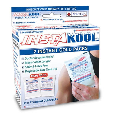 "Insta-Kool Instant Cold Pack, TWIN Box, 5"" x 7"" Retail Box"