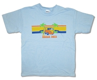 The Beach Boys Van on Blue Tee