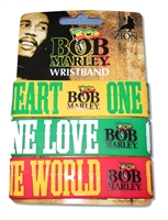 Bob Marley One Love One Heart Silicone 3 Pack Wrist Bands