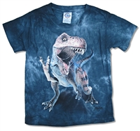 The Mountain T-Rex Standing Blue Tie Dye Youth Tee