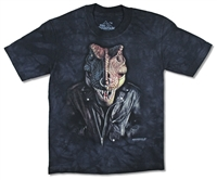 The Mountain T-Rex with Nose Ring Black Tie Dye Youth Tee